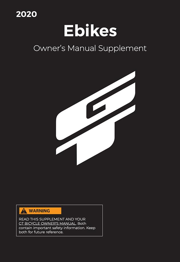 2020 GT Ebike Owner's Manual